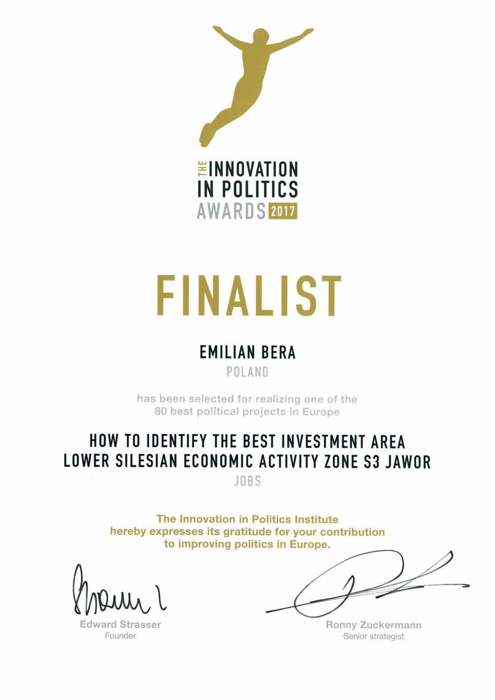 Burmistrz Jawora Innowacyjną Osobowością 2017 roku
